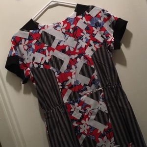 Red Floral Abstract Peter Pilotto Dress Size 10.